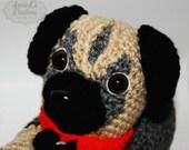 Women's Adult Pug Slippers, Original Unique, Crochet Puppy Dog Slippers