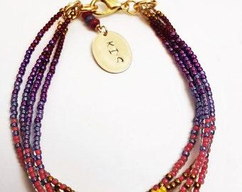 Seed bead bracelet, beaded bracelet set, Purple Ombre jewelry, Ombre beaded bracelet, pink seeded bracelet, purple bracelet set, sead beads