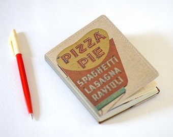 Upcycled Mini Journal- Pizza Edition