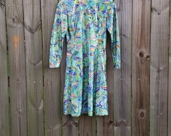 Vtg 1960s Vintage Psychedelic Trippy Water-color Print Long Sleeve Small Go Go Laugh In Mini 60s Dress