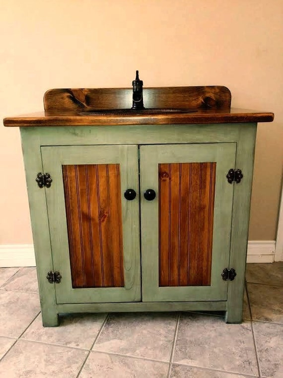 "Country Pine Bathroom Vanity with Hammered Copper Sink: 36 inch wide Rustic Bathroom Vanity - CC1186-36 -Antique sage green - 36""  Farmhouse"