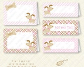 Pink Puppy Tent Buffet Card Kit party favor bag printable Birthday Baby Shower placecard plaid stripes dots instant download digital pdf