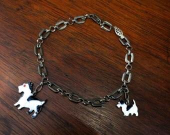Art Deco Bracelet, Enamel Scottie Dog Charm Bracelet Sterling Silver c. 1930, Antique Bracelet, Vintage Bracelet, Edwardian Bracelet