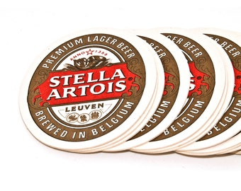 Set of 8 Beer Coasters, Collectible Beer Mats, Vintage Cardboard Belgian Beer Coasters Stella Artois, Home Bar Decor, Beer Gift, Barware