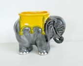 Elephant Figurine, Vintage Porcelain Elephant Pin Cushion Holder, Miniature Vase Trinket Dish, Small India Elephant