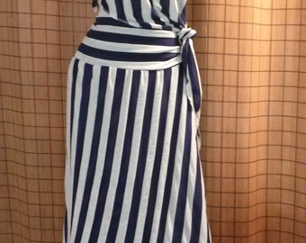 Striped cream and blue 2 piece skirt and high/low top with knotted side, extra long asymmetrical skirt