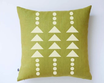 Modern pillow cover -green pillow with white print - accent pillow -  modern white triangles and polka dots pattern 0375