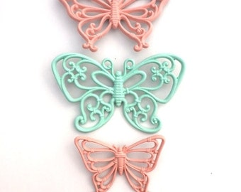 Vintage Upcycled 70's Mint Green and Coral SYROCO Wall Hanging Butterflies