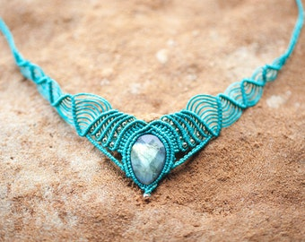 Turquoise Collar Labradorite Necklace - Macrame Necklace - Burning Man Jewelry - Tribal Necklace  - Bohemian Necklace -  Mother Earth