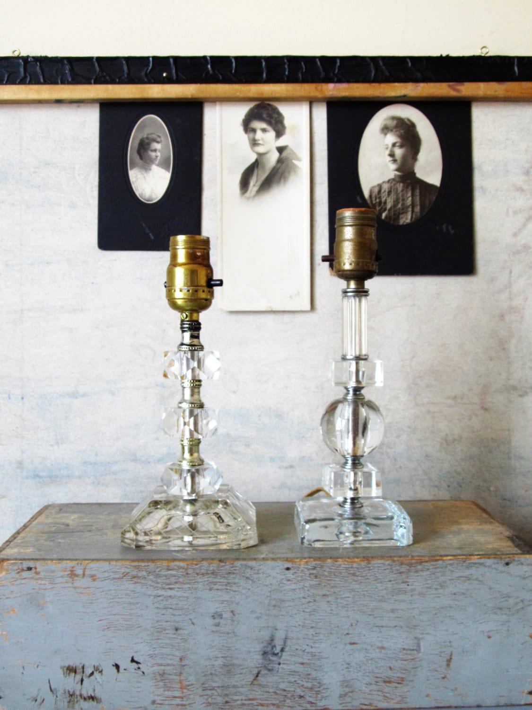 Vanity Lamps Vintage : Vintage glass lamps Shabby Chic glass lamps glass vanity