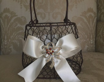 rustic woodland flower girl basket purse with ivory  ribbon and brooch purse basket for junior bridesmaid