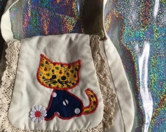 REDUCED!! Handmade QUILTED KITTY Purse