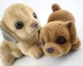 Josef Original Flocked 2 Vintage Fuzzy Animals Brown Puppy Dog Figure Figurines