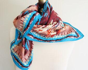 1970s silk scarf, BASILE silk scarf, Italian silk scarf, silk sqaure scarf, vintage scarves, square silk scarf, vivid silk scarf, hair wrap