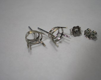 New 14 kt White Gold 7 x 5 mm Oval Earring Setting Castings Studs