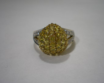 Vintage 18 kt Yellow Gold Domed Yellow Sapphire White Diamond Band Ring Size 7