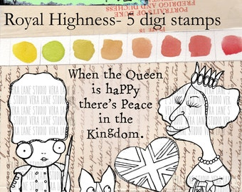 Royal Highness -- Quirky digi stamps featuring the Queen and her Corgis, a guard, British heart flag and a sentiment.