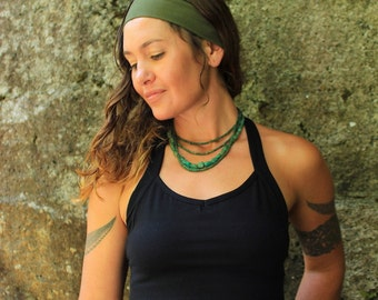 Headband-yoga headband-festival accessories-green headband-boho yoga-tribal festival gear-headwrap-yoga clothes-running headband-sage green