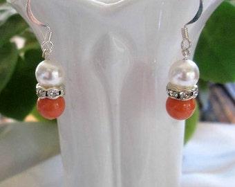 pearl earrings, Swarovski earrings, Swarovski jewelry, pearl jewelry, Swarovski pearl earrings, coral pearl earrings, white earrings
