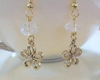 gold earrings, crystal jewelry, flower jewelry, crystal earrings, hypoallergenic earrings, gold drop earrings, flower earrings, crystal drop