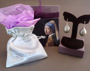 "Grey Teardrop pearl earrings from the painting ""Girl with a Pearl Earring"" by Vermeer. medium"