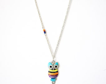 Colorful Owl Pendant Necklace with Crystals & Mulitcolor Beads