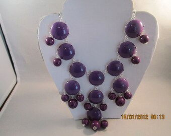 Bib Necklace with Silver and Purple Beads Pendants on a Silver Tone Chain