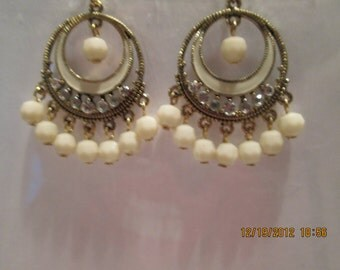 Gold Tone Hoop Dangle Earrings with Clear Rhinestones and Ecru/Cream Color Dangles