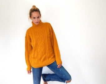 vintage 80s cable knit sweater oversized turtleneck sweater argyle sweater dark yellow sweater chunky knit sweater mustard yellow sweater M