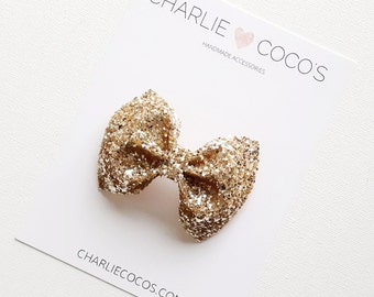 "Baby/Girls Glitter Hair Bow-Champagne Gold Glitter Bow Headband or Hair Clip ""Cheers"" by charliecocos"