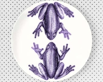 Frogs, Tilandsia Purple frogs melamine plate