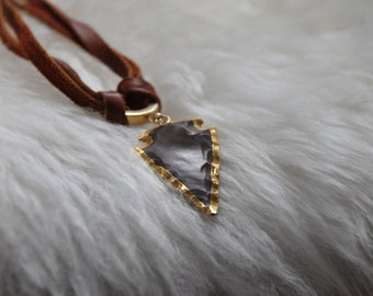 Stone Arrowhead and Leather Vintage Wrap Necklace