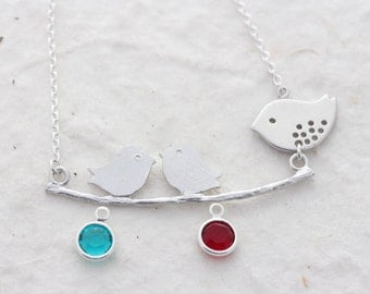 Bird necklace- Mom and babies - Lovebirds Necklace. Sterling Silver - New mom- Grandmother necklace. Mothers day gift