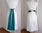 Vintage 1960s White Lace Wiggle Dress - V-Back - Low Back - Lace Overlay - Medium - Alternative Wedding Dress - Silk Scarf Train