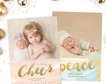 Christmas Card Templates for Photographers, Christmas Card Templates for Photoshop, Holiday Card Templates, Photography Templates HC7679