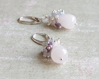 Rose Quartz Cluster Earring - Pastel Jewelry - Sterling Silver Earrings - Pink Gray Plum Crystal Jewelry - Bridesmaid Gift - Wedding Jewelry
