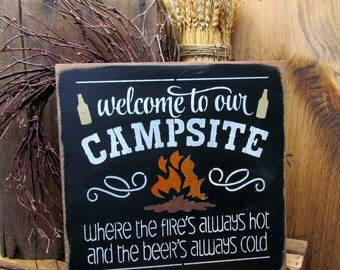 Sign for the Campsite, Camping sign, Fathers Day Gift, Rv Sign, Camping Gift, Campfire Sign, Happy Campers, Sign for Camspsite, Camping