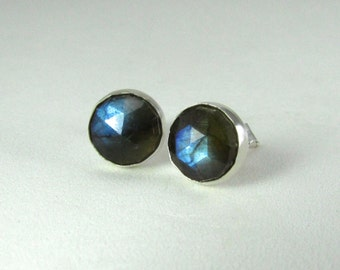 Labradorite Stud Earrings Sterling Silver - Labradorite post earrings - gemstone earrings
