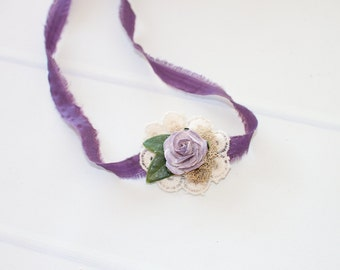 Lilacs and Lace - adorable dainty tieback headband in lavender, lilac, deep plum purple and cream (RTS)