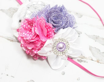 Razzle Dazzle In Love - Headband in hot pink, lavender, silver and white with lots of glitter and sparkle (RTS)