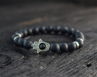 8mm - Matte black beaded silver Hamsa hand stretchy bracelet, made to order black bracelet, mens bracelet, womens bracelet