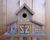 Rustic Reclaimed Cedar Birdhouse (Barn)