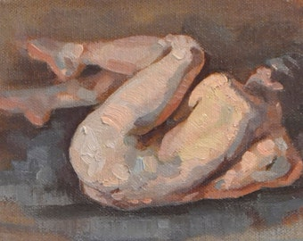 original oil painting 5x7 inch figure sketch