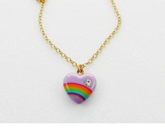 Lilac Rainbow Heart Necklace