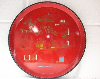 FABULOUS LAS VEGAS Tray 1960's Red Lacquer Painted Souvenir Drink Snack Server