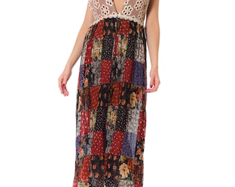 1960s Ethnic Patchwork Print Lace Detail Halter Summer Dress SIZE: XS, 0