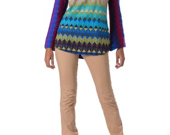 1960s MOD Tech Multi Color Zigzag Knitted Sweater  SIZE: S, 2-4