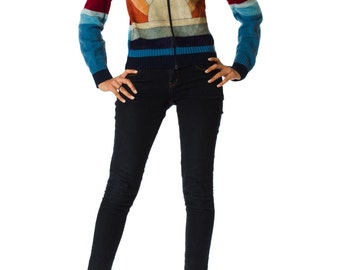1970s Suede Multicolor Colorblock Patchwork and Knit Jacket SIZE: XS, 2