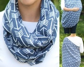 SUMMER SALE! Navy Arrows 100% Cotton Muslin Gauze Hold Me Close Nursing Scarf, Nursing Cover, Infinity Scarf, Nursing Poncho