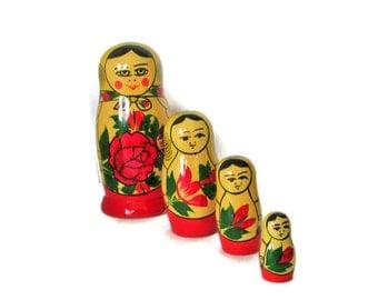 Russian Soviet Matryoshka Nesting Dolls, Marked USSR, Folk Art Dolls